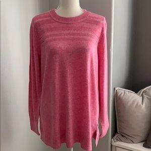 Loft Pink Stitched Yoke Long Sleeve Tunic Top